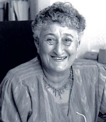 A black and white photo of Connie Benn