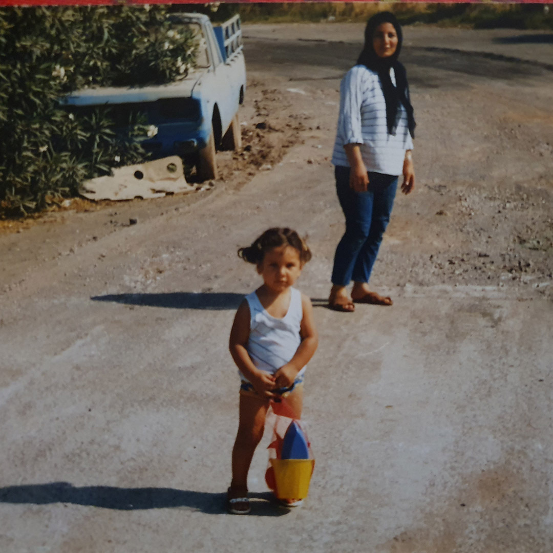 Zeinab with her daughter, Nos, in Greece, 1987.