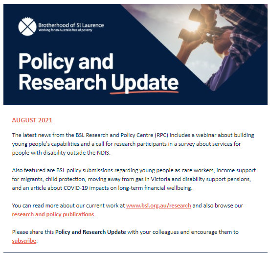 Policy and Research Update August 2021