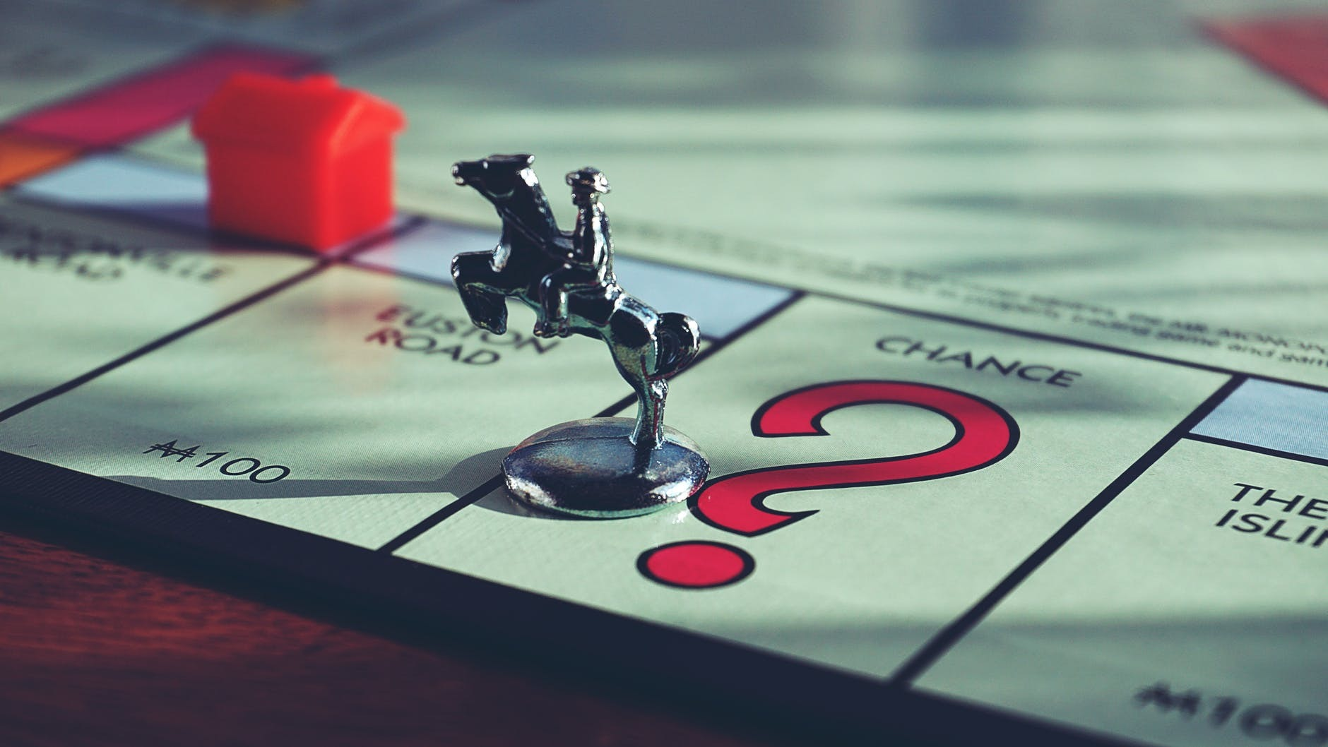 Close up of Monopoly board showing Chance